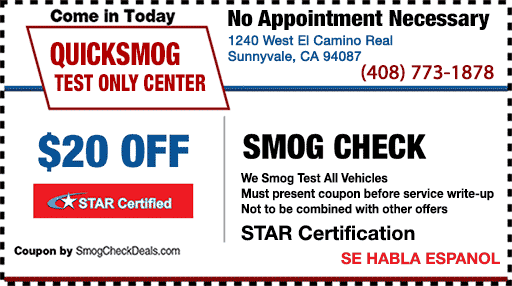 Smog Coupon Star Certification Sunnyvale